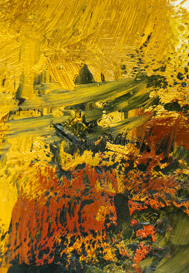 Detail of thick oil paint structure, glossy metallic look. Artists´s pallete detail (crop), brushwork in oil painted surface stock images