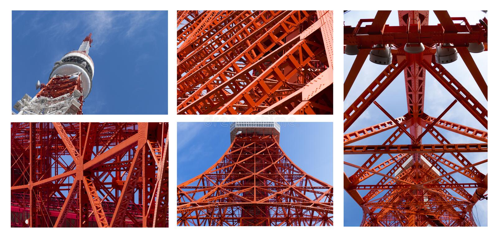 Detail of Tokyo tower, the landmark of Japan in blue sky stock images