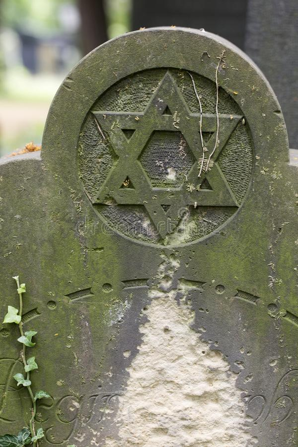 Detail of the Tombstone from the Prague Jewish Cemetery, Czech Republic royalty free stock photography