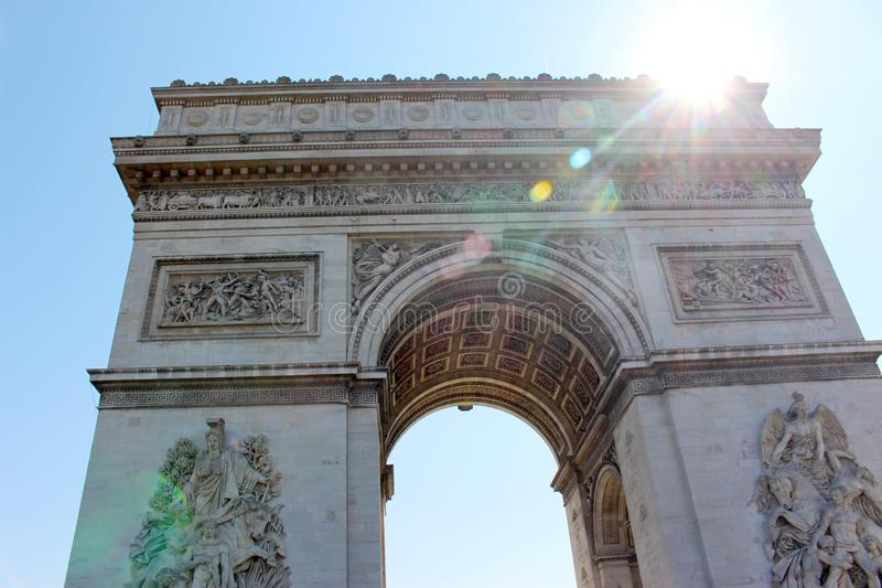 Detail of the Arc de Triomphe in Paris royalty free stock photography