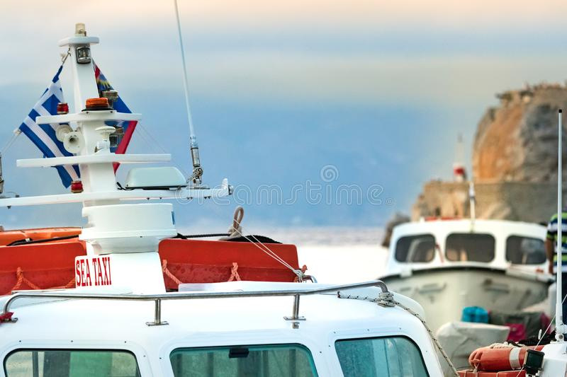 Detail of the top of a sea taxi sailing in Hydra, Greece royalty free stock photos