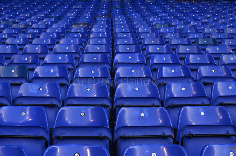 Detail of Tottenham's stadium White Hart Lane. Detail of Totenham's stadium seats pictured prior to the UEFA Europa League round of 16 game between Tottenham royalty free stock photography