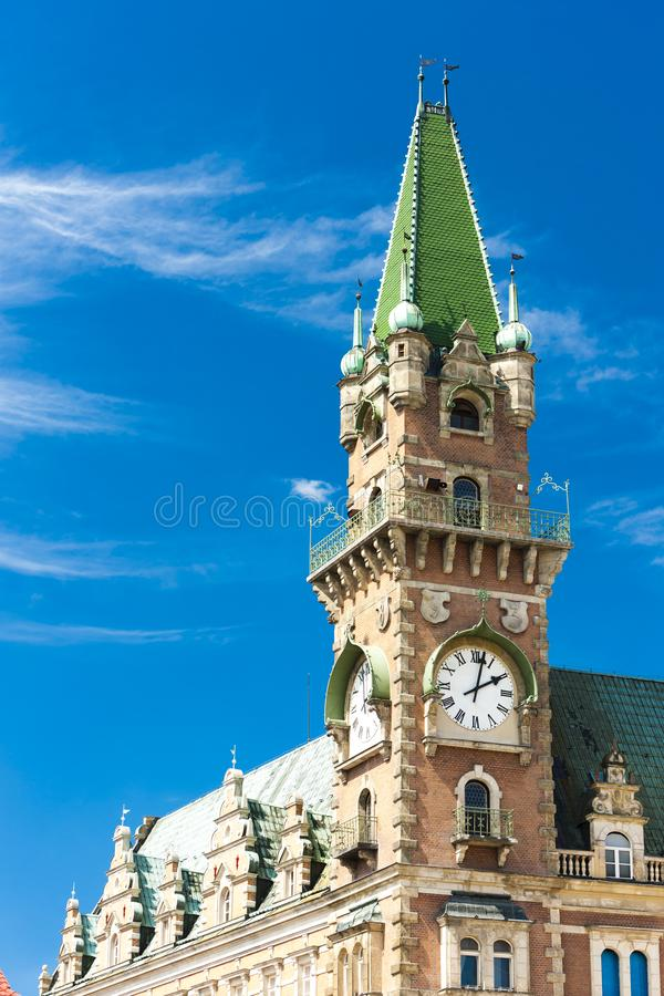 Detail of town hall of Frydlant, Czech Republic. Outdoors, outside, exteriors, europe, central, eastern, czechoslovakia, bohemia, urban, architecture, building stock photography