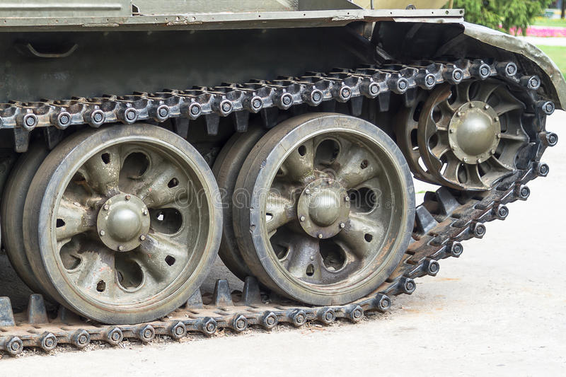 Detail tracked vehicle. In earthy ambiance stock photo