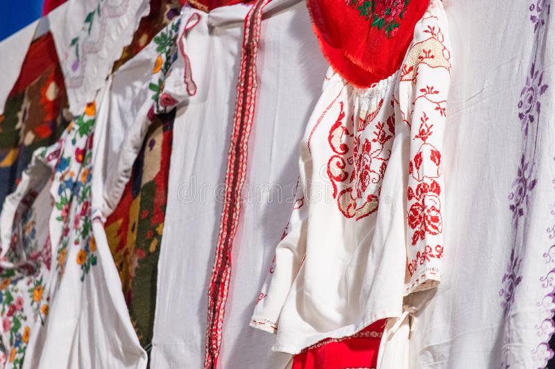 Detail of traditional folkloric costume of Romanian dancers. Folklore of Romania royalty free stock photo