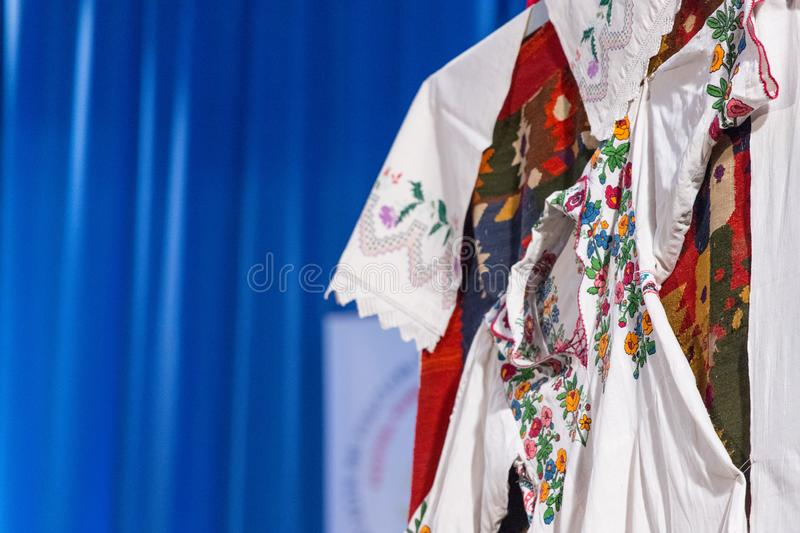 Detail of traditional folkloric costume of Romanian dancers. Folklore of Romania.  stock images