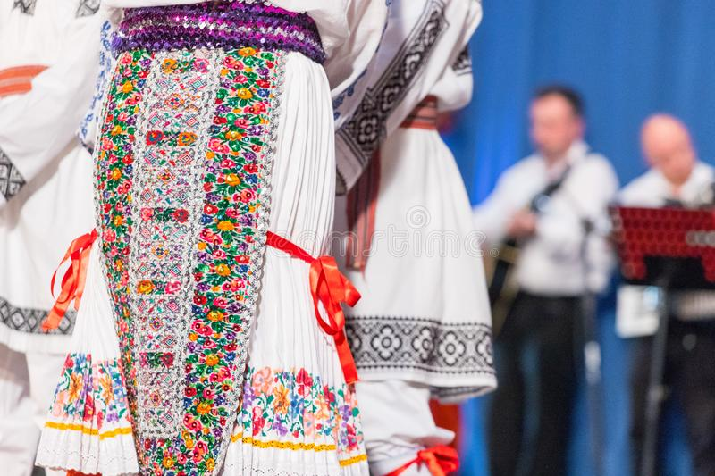 Detail of traditional folkloric costume of Romanian dancers perform a folk dance. Folklore of Romania royalty free stock photos