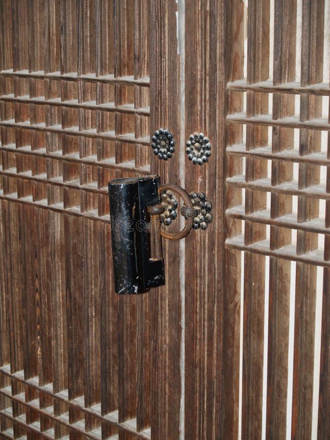 Detail of Traditional Korean Architecture, Wooden Door stock photo