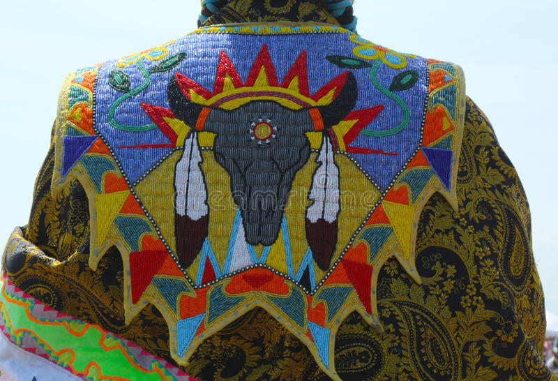 Detail of traditional Native American Pow Wow dress stock photo