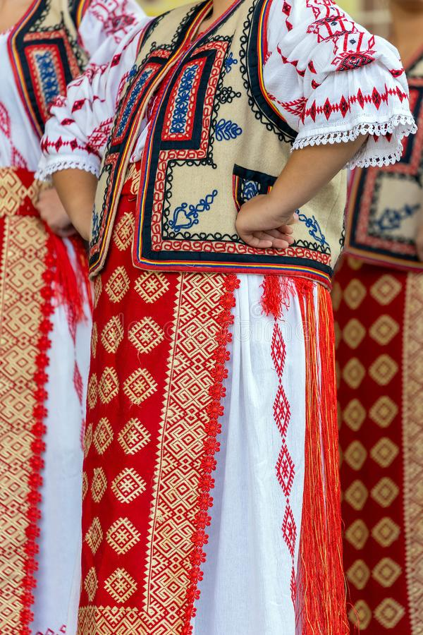 Detail of traditional Romanian folk costume for woman. Specifically from Banat area, Romania stock photos