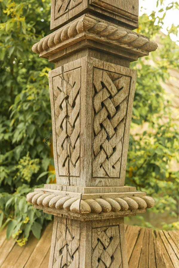 Traditional wood sculpture stock photo
