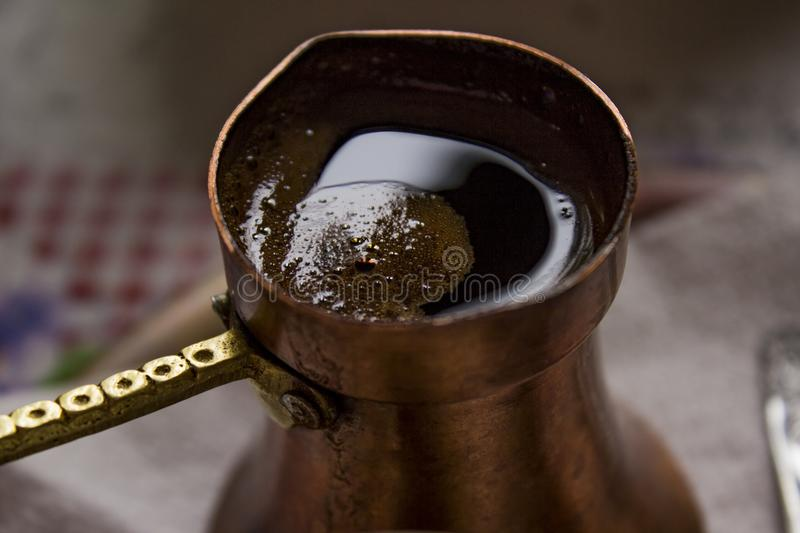 Traditional coffee in Bosnia. Detail of traditionaly prepared coffee in Bosnia stock photos