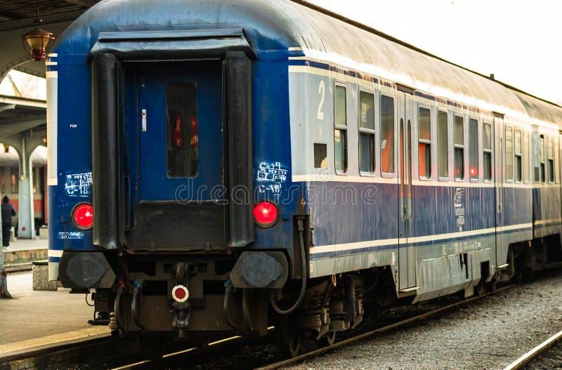 Detail train view. Train on the platform of Bucharest North Railway Station Gara de Nord Bucuresti in Bucharest, Romania, 2020.  stock photo