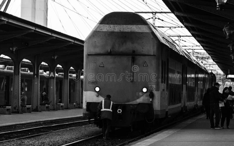 Detail train view. Train on the platform of Bucharest North Railway Station Gara de Nord Bucuresti in Bucharest, Romania, 2020.  royalty free stock photos