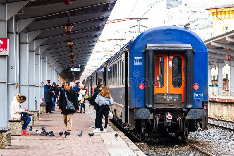 Detail train view. Train on the platform of Bucharest North Railway Station Gara de Nord Bucuresti in Bucharest, Romania, 2020.  stock images