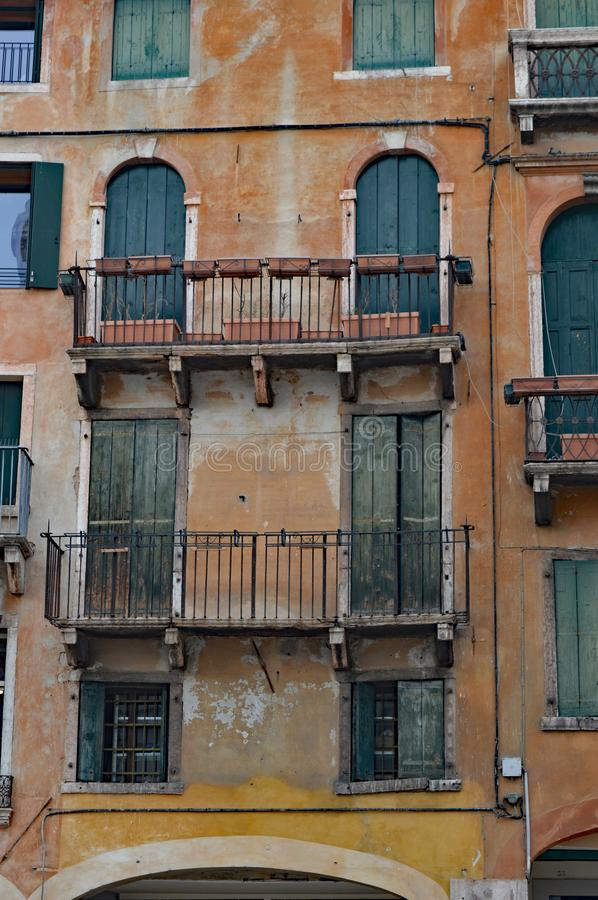 Detail Typical northern italian architecture, Bassano del Grappa royalty free stock image