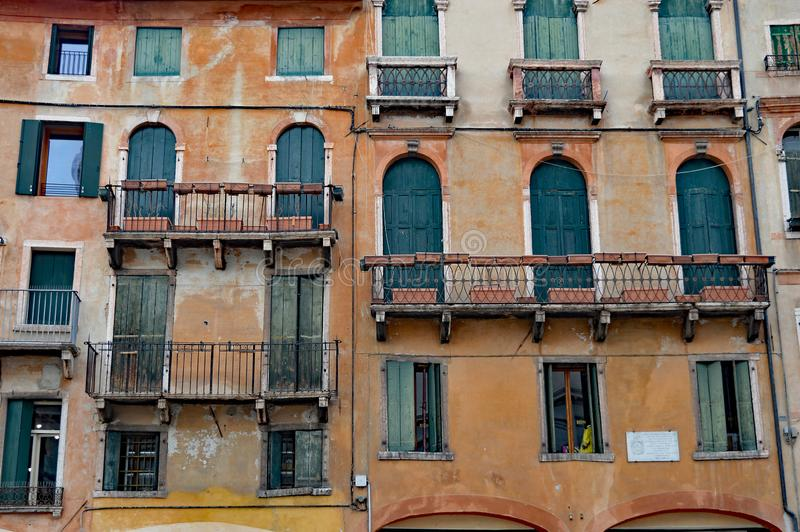 Detail Typical northern italian architecture, Bassano del Grappa royalty free stock photo