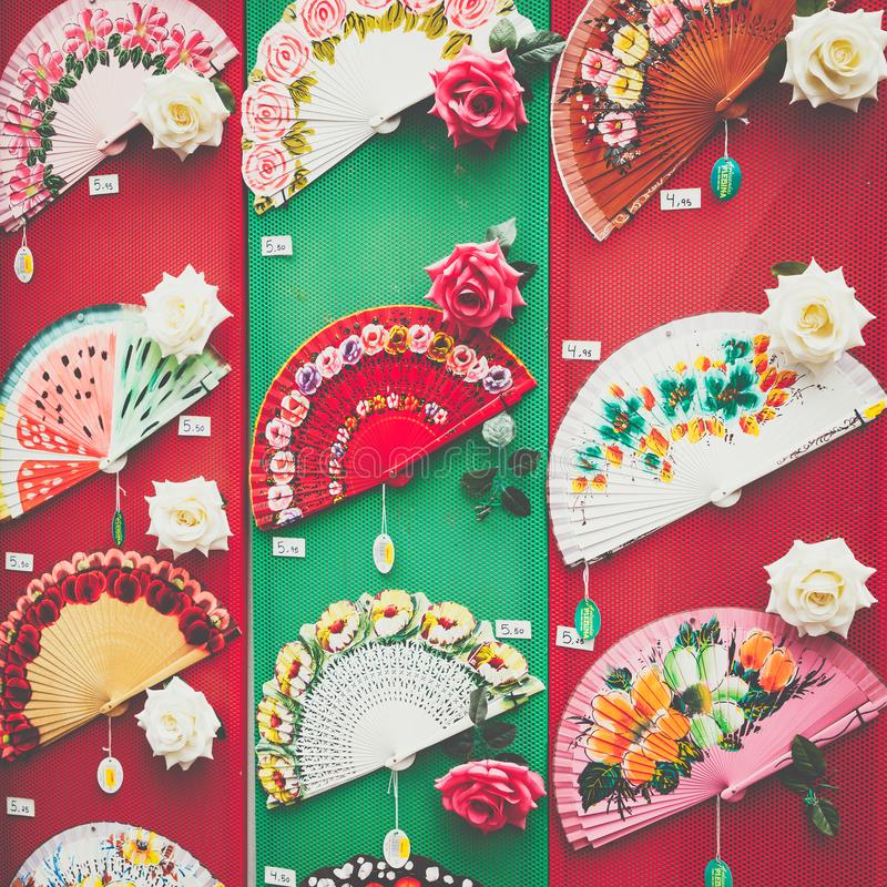 Detail of a typical spanish fan in souvenir shop in Cordoba, And royalty free stock photos