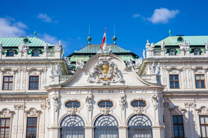Detail of the Upper Belvedere palace in a beautiful spring day stock images