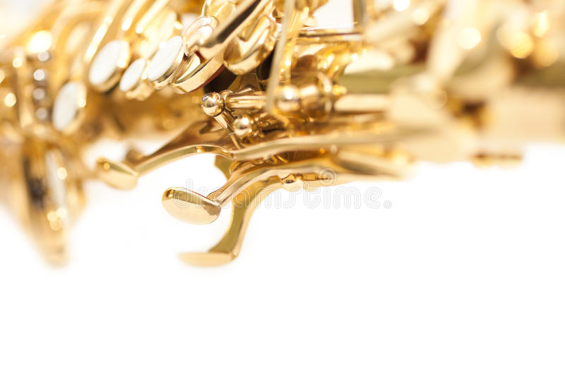 Detail of valves saxophone. On a white background stock images