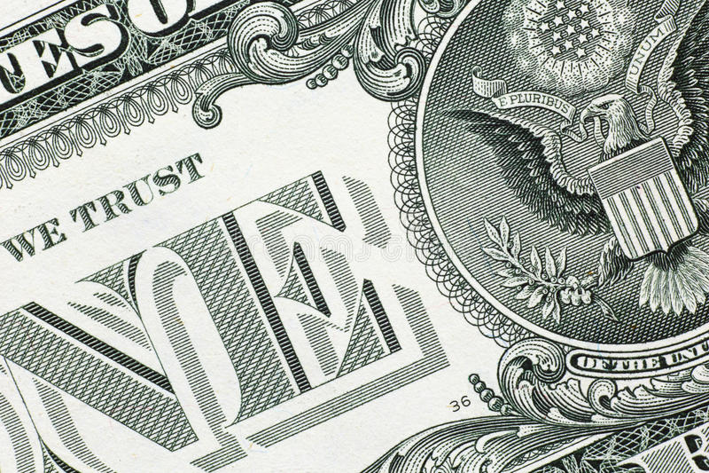 Detail van één ons dollarbankbiljet stock fotografie