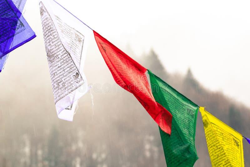 Detail van annapurna Indische veelkleurige vlag royalty-vrije stock foto's