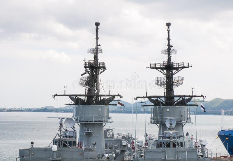 Detail van antenne op oorlogsschip royalty-vrije stock afbeelding