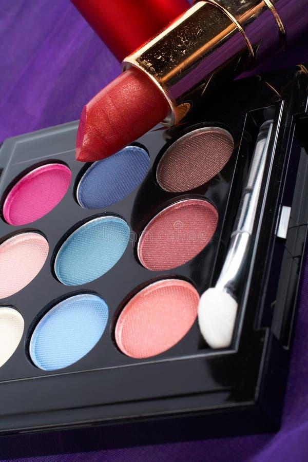 Detail van assortiment van make-upn stock afbeelding