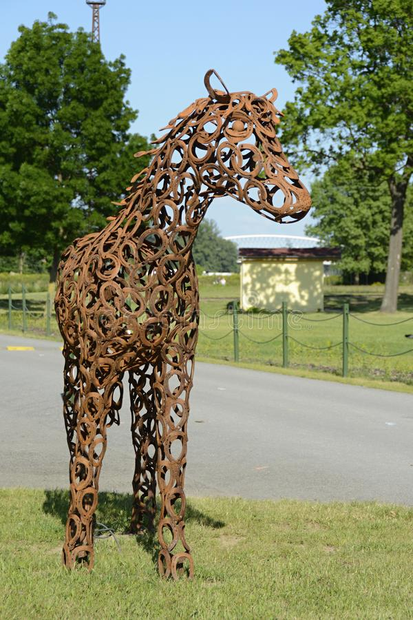 Detail van Beeldhouwwerk van een Paard, Praag, Tsjechische Republiek, Europa stock fotografie
