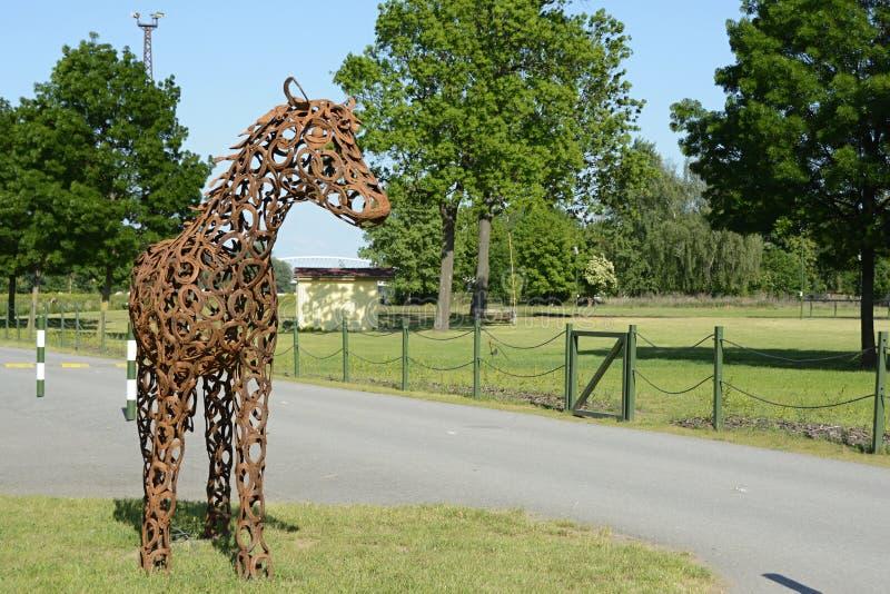 Detail van Beeldhouwwerk van een Paard, Praag, Tsjechische Republiek, Europa royalty-vrije stock foto