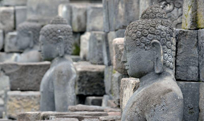 Detail van Boeddhistische gesneden hulp in Borobudur-tempel in Yogyakar royalty-vrije stock afbeelding