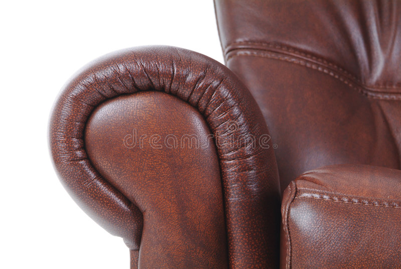 Detail van bruin leer recliner royalty-vrije stock foto