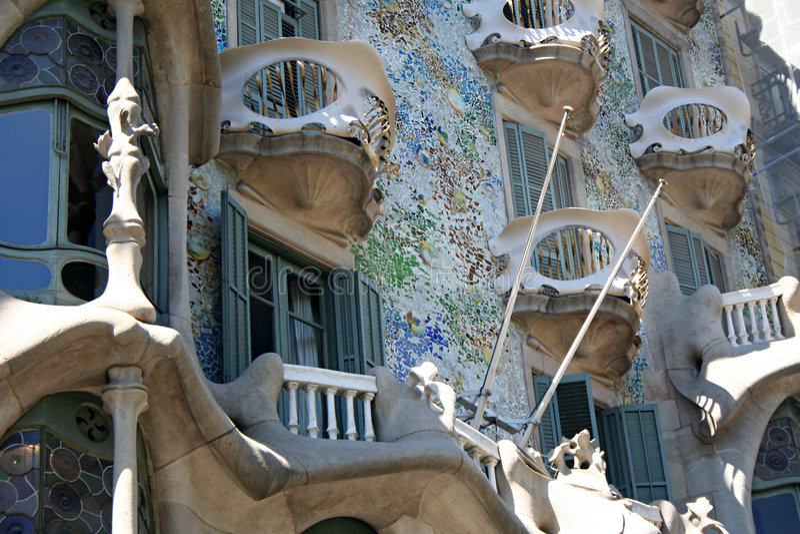 Detail van Casa Batllo stock foto's