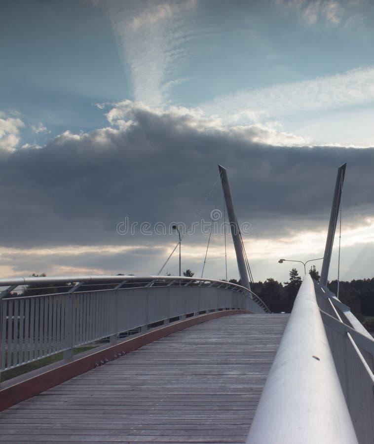 Detail van de brug in de gloed van zonsondergang stock fotografie