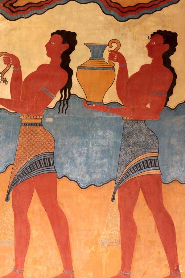 Detail van de fresko's van het Paleis van Knossos stock fotografie
