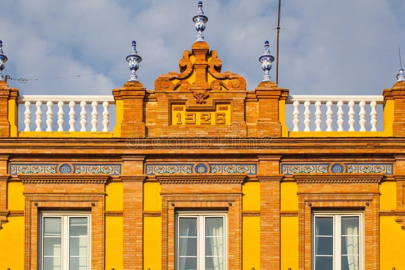 Detail van de historische bouw in het stadscentrum van Sevilla, Spanje stock foto