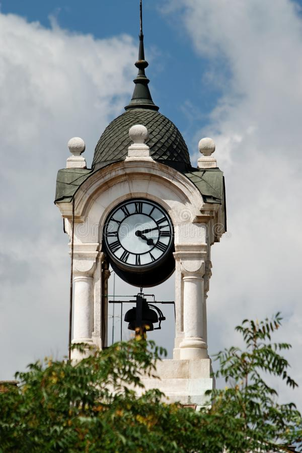 Detail van de kloktoren van de Central Sofia Market Hall stock foto's