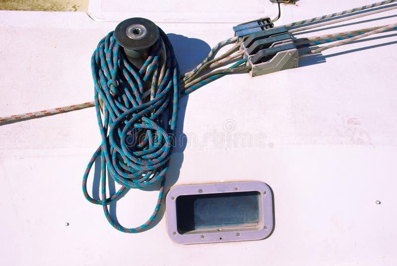 Detail van de kruk van een zeilboot royalty-vrije stock afbeeldingen