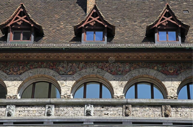 Detail van de middeleeuwse bouw, Zürich, Zwitserland stock foto's