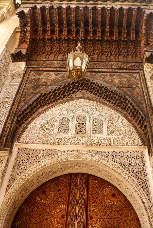 Detail van de mooie decoratie van het tegelmozaïek van in Fez, Mo stock foto's