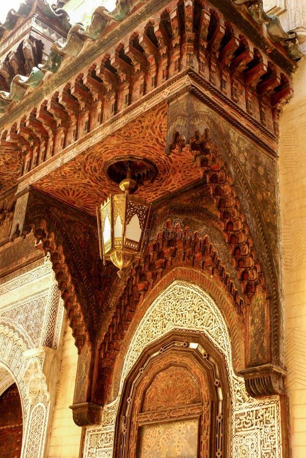 Detail van de mooie decoratie van het tegelmozaïek van in Fez, Mo stock foto