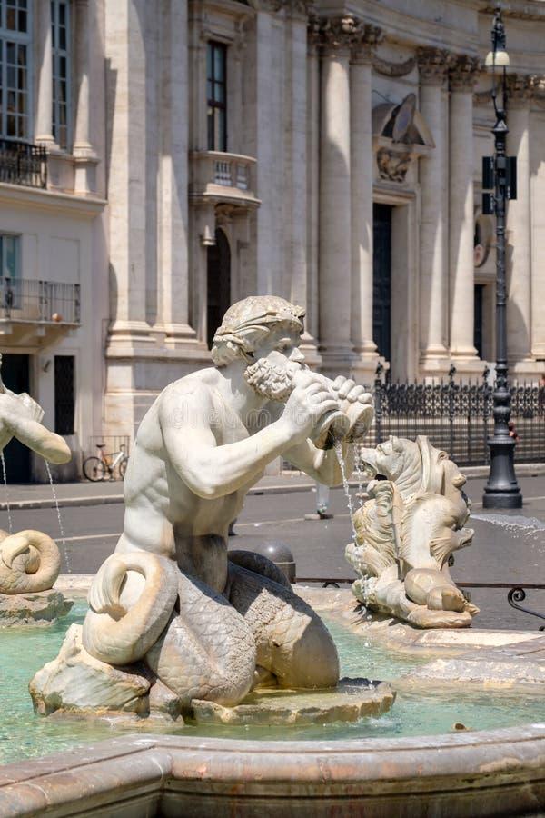 Detail van de Moor Fontein bij Piazza Navona in Rome stock afbeelding