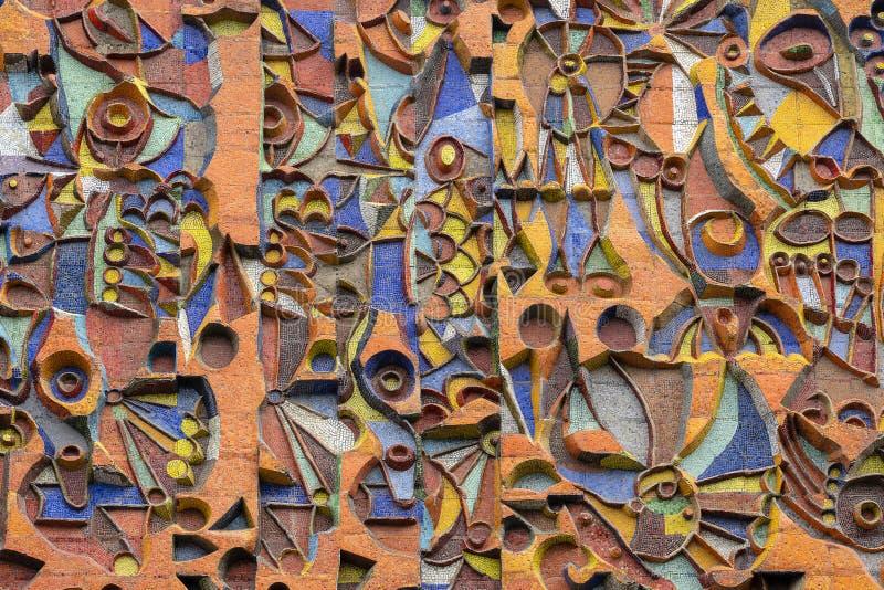 Detail van de mozaïekmuur, achtergrond, textuur royalty-vrije stock foto