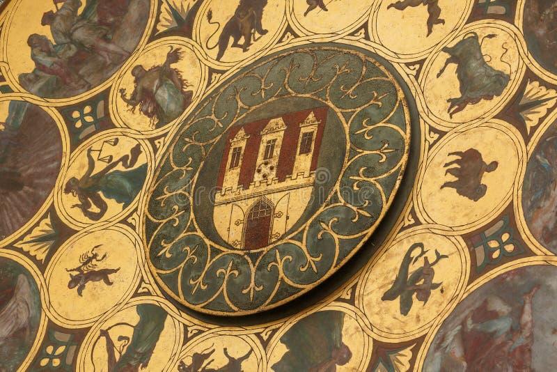Detail van de Oude astronomische klok van Stadshall tower prague royalty-vrije stock afbeelding