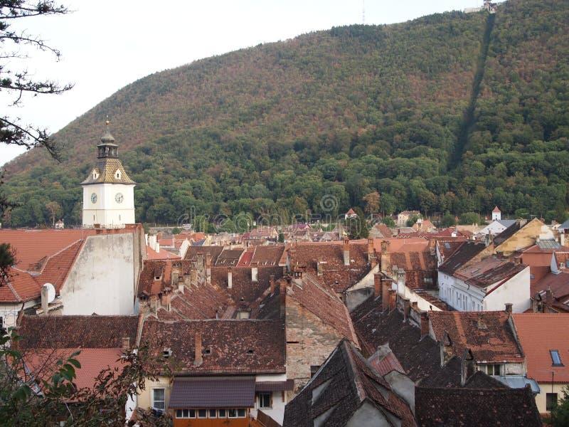 detail van de oude stad van Roemeense stad brasov royalty-vrije stock afbeeldingen