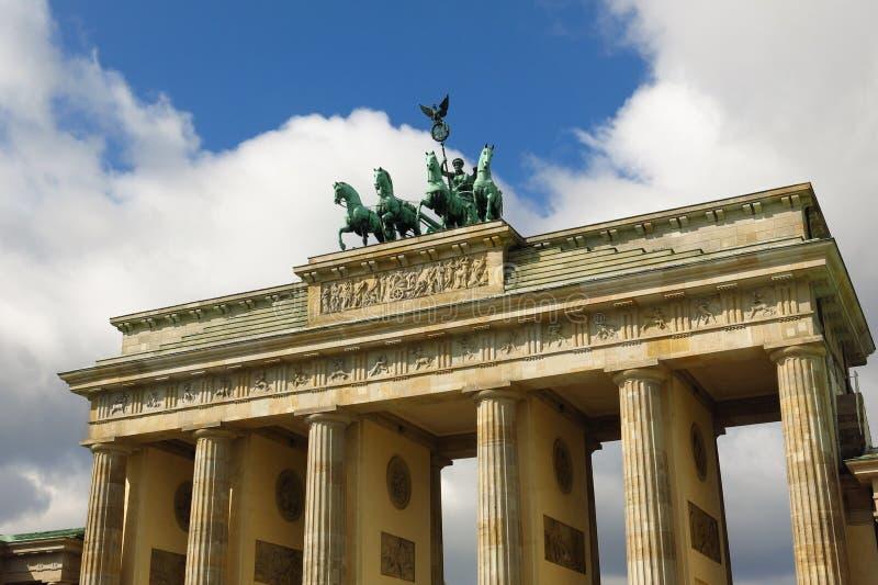 Detail van de Poortquadriga van Brandenburg de zonnige dag in van Berlijn, Duitsland Pariser Platz stock afbeelding