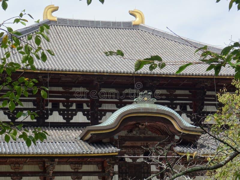 Detail van de Todai -todai-ji tempel in Nara, de Grote Zaal van Boedha stock foto's