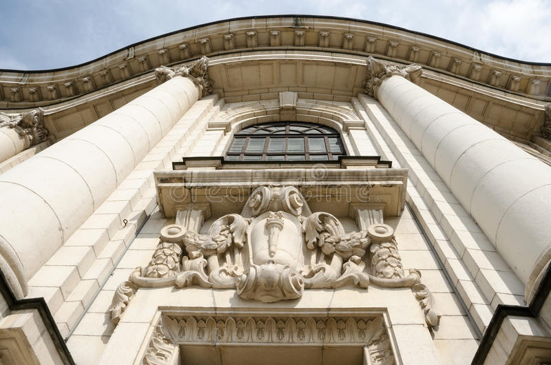 Detail van de Universiteit van Sofia, Bulgarije stock afbeeldingen