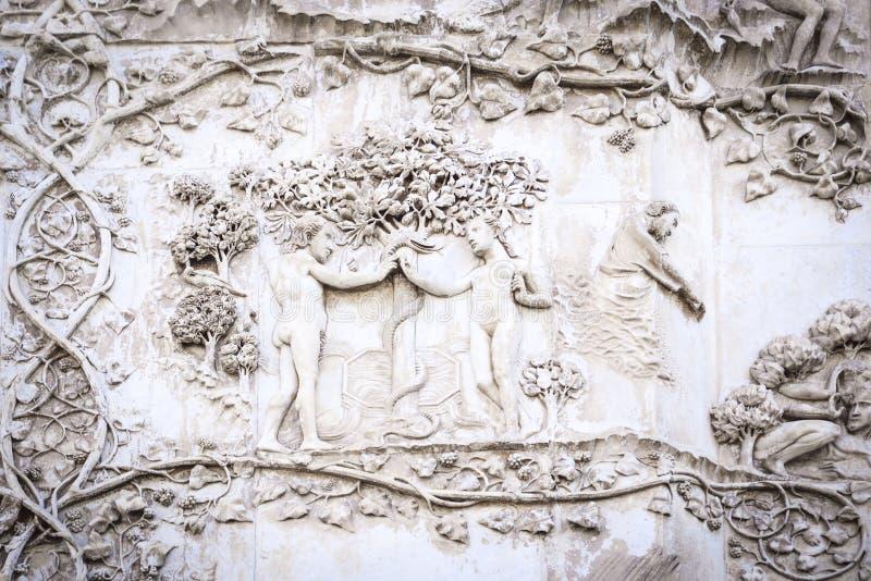 Detail van de voorgevel van de kathedraal van Orvieto, Umbrië, Italië stock fotografie