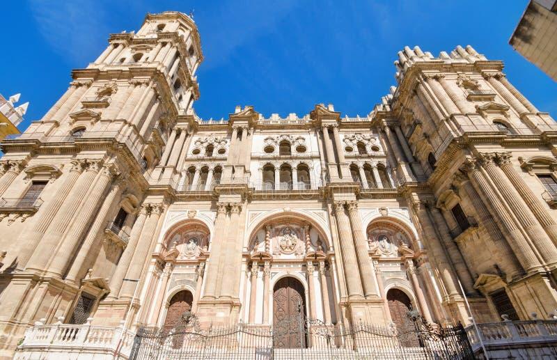 Detail van de voorgevel van de Kathedraal van Malaga, Malaga, Andalusia, Spanje stock afbeeldingen